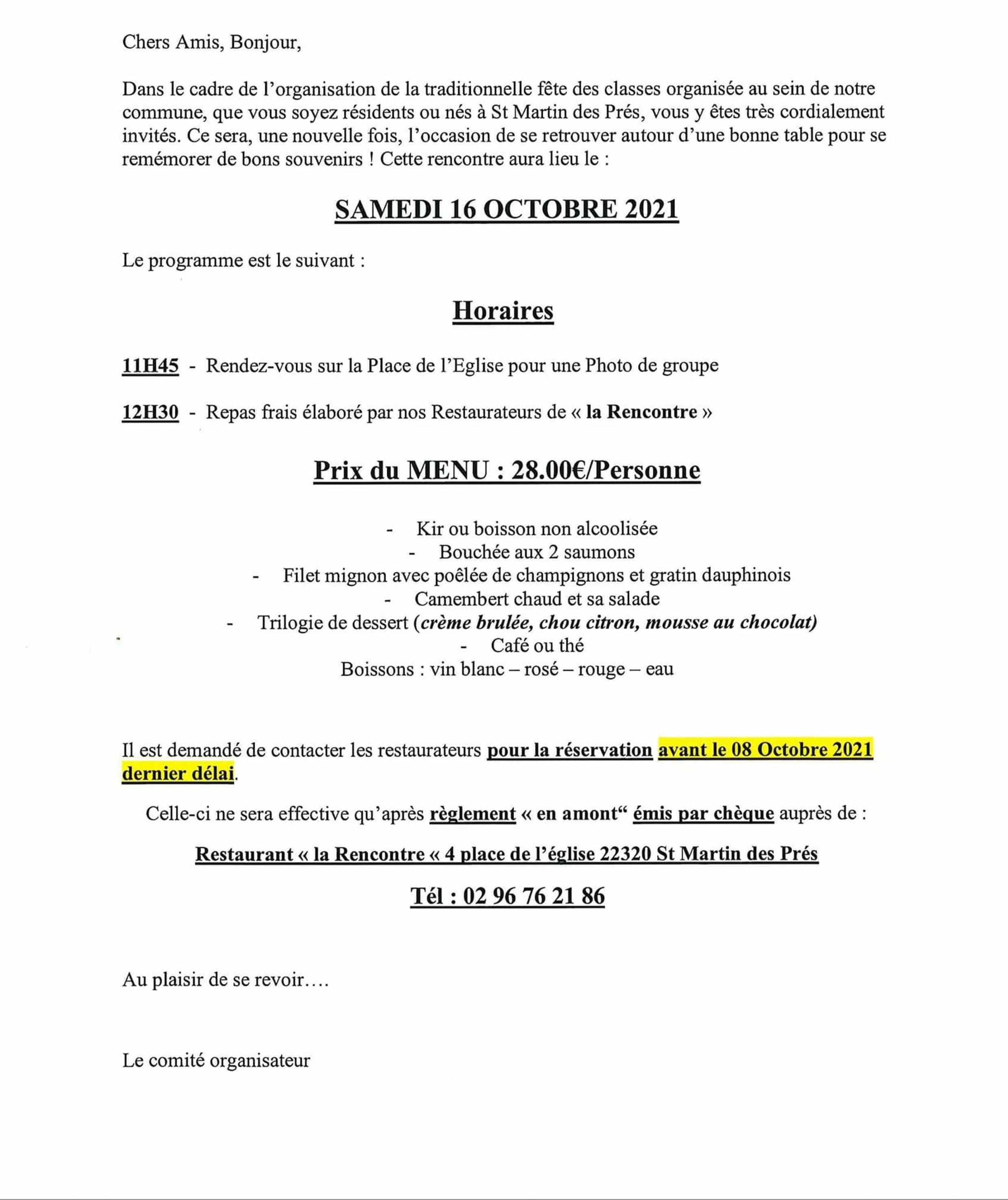 LES CLASSES 0 ET 1 À ST MARTIN DES PRÉS LE 16 OCTOBRE 2021