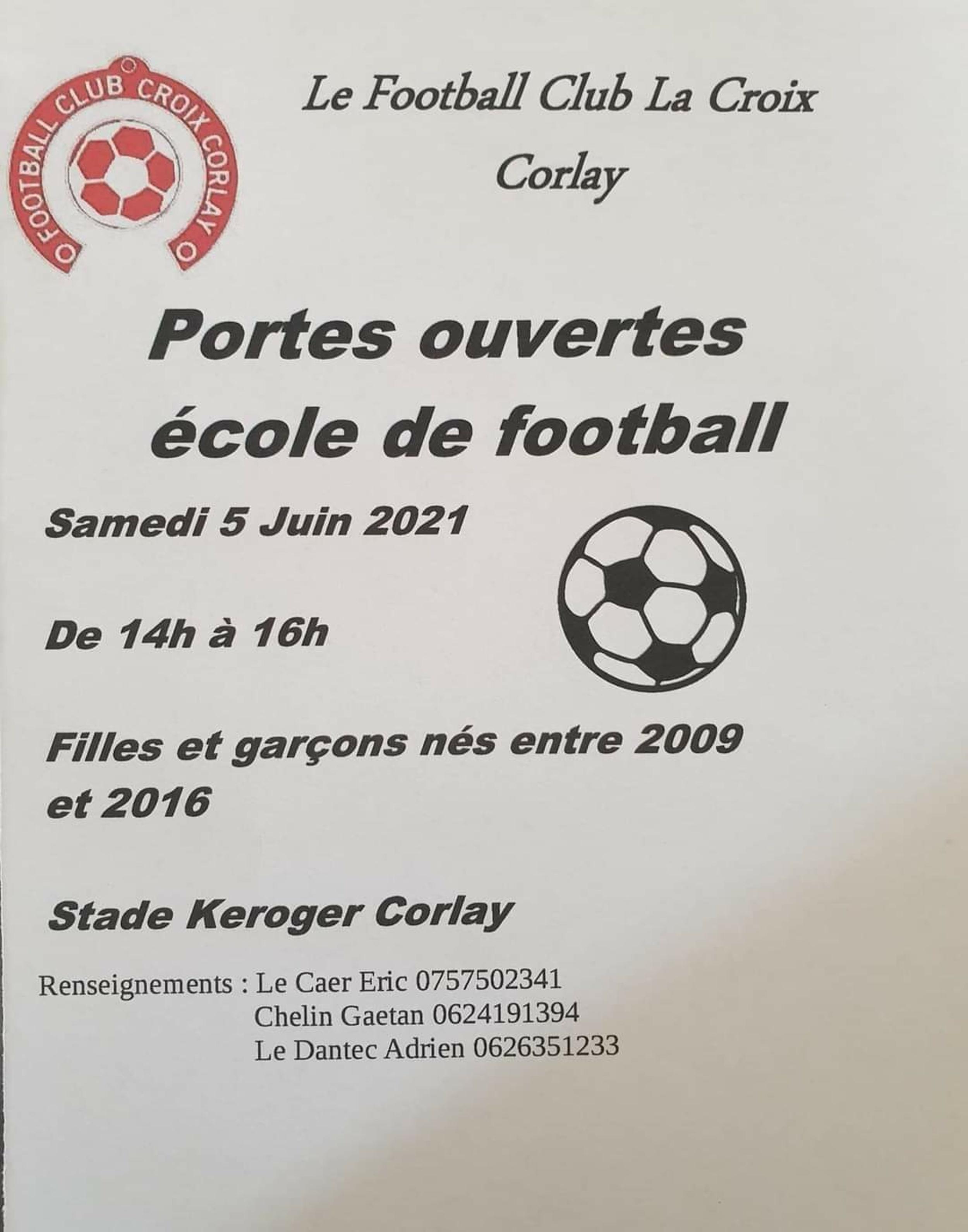 Portes ouvertes - 5 juin 2021École de foot - club La Croix - Corlay