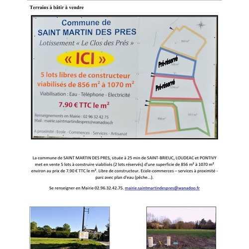 """Saint-Martin-des-Prés : Lotissement """"Le Clos des Prés"""""""