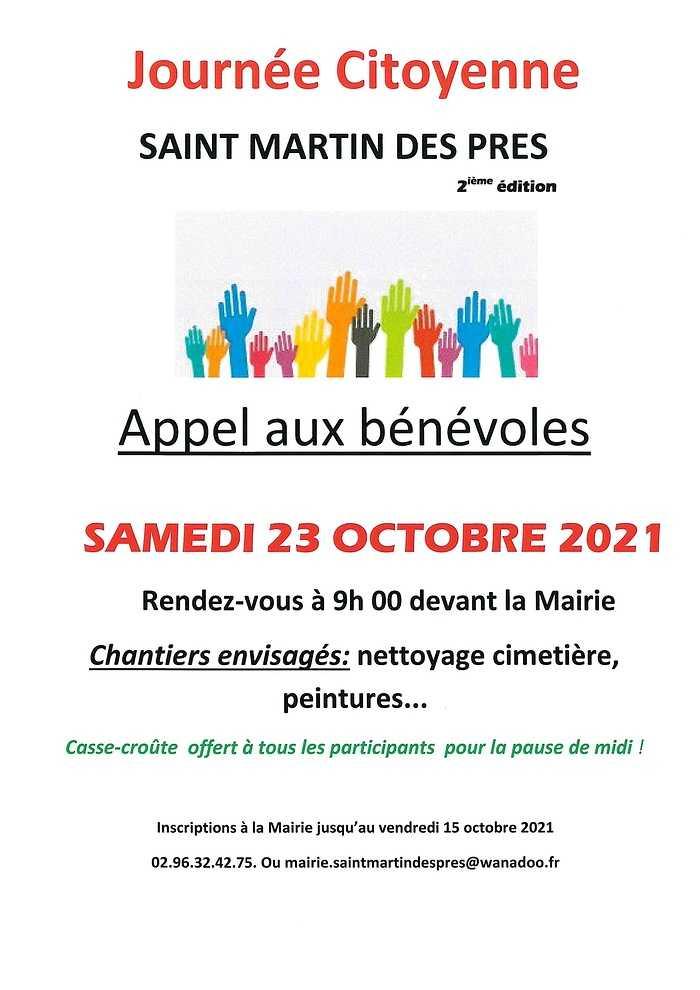 Journée citoyenne le 23 octobre 2021ST MARTIN DES PRÉS 0